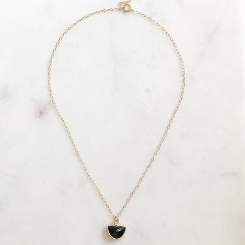 The Mini Drop Necklace - Onyx