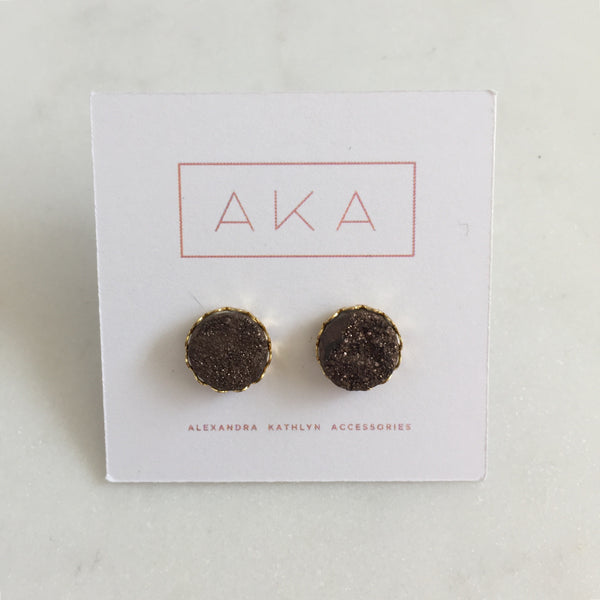 Druzy Lace Earrings - Coffee