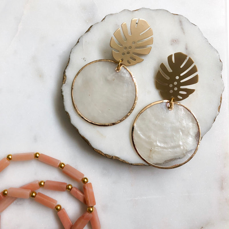 Monstera Shell Earrings - Alexandra Kathlyn Accessories