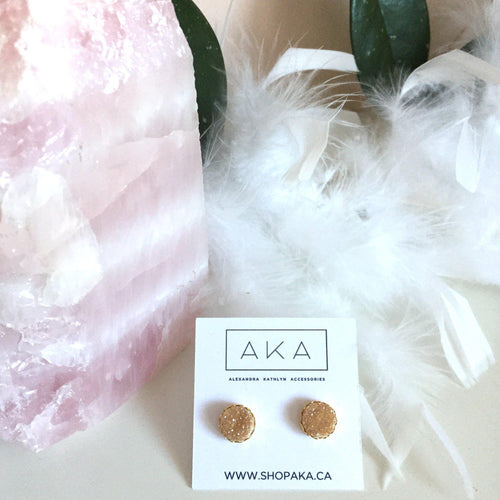 Druzy Lace Earrings - Champagne - Alexandra Kathlyn Accessories