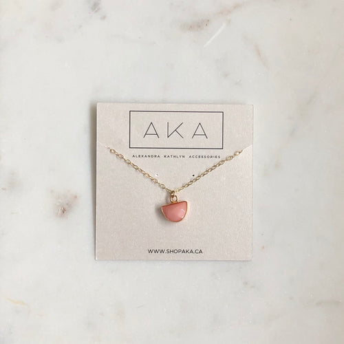 The Mini Drop Necklace - Pink Aventurine - Alexandra Kathlyn Accessories
