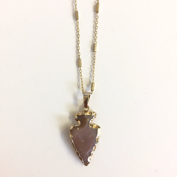 Gemstone Arrowhead Necklace