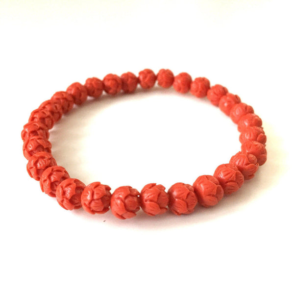 Coral Lotus Flower Bracelet - Tomato - Alexandra Kathlyn Accessories - 2