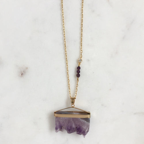 Ultra Violet Raw Amethyst Necklace