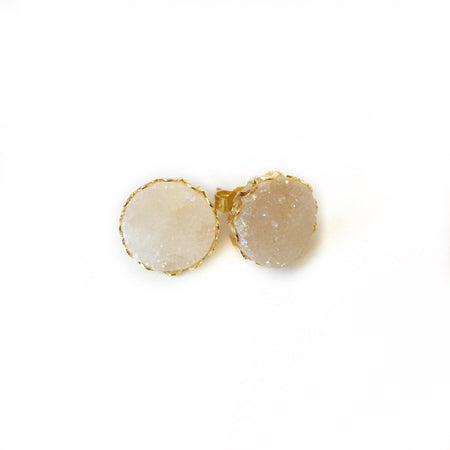 Triangle Mini Light Grey/White Druzy Earrings