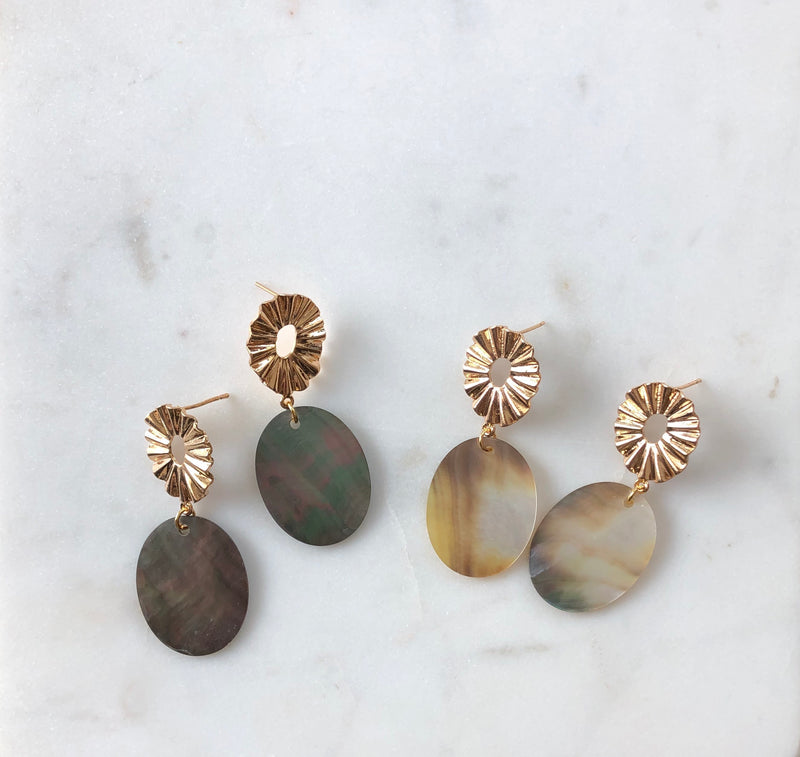 Black Shell Statement Earrings - Alexandra Kathlyn Accessories