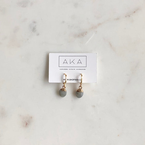 Gem Huggie Earrings - Labradorite