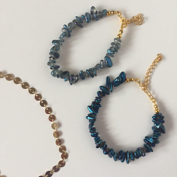 Crystal Chip Bracelet - Blue
