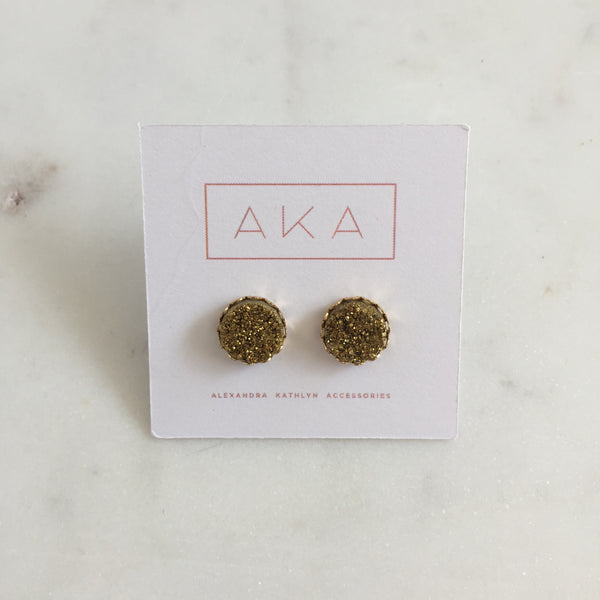 Druzy Lace Earrings - Gold