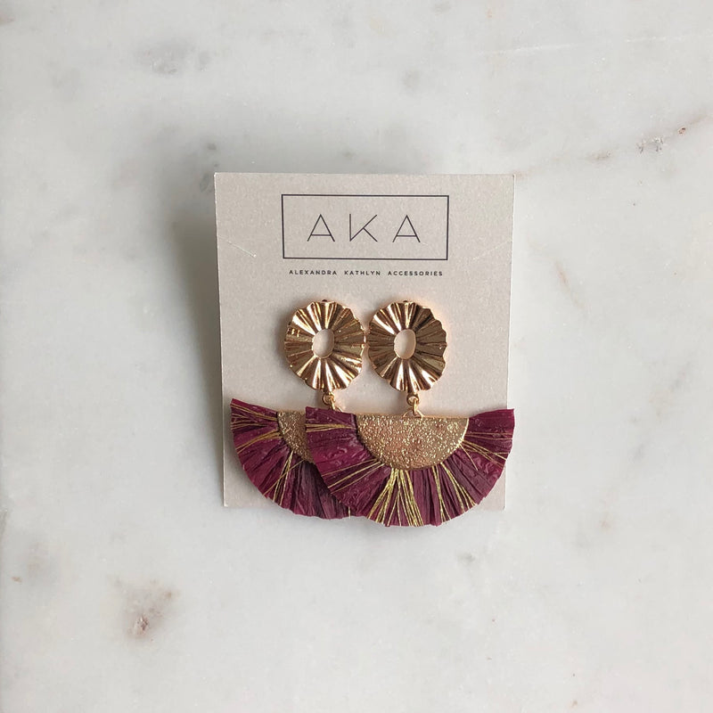 RAFFIA Statement Earrings - Berry-Earrings-Alexandra Kathlyn Accessories