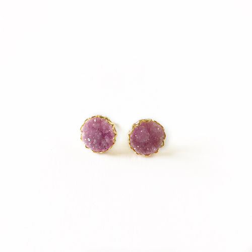 Druzy Lace Earrings - Fuchsia