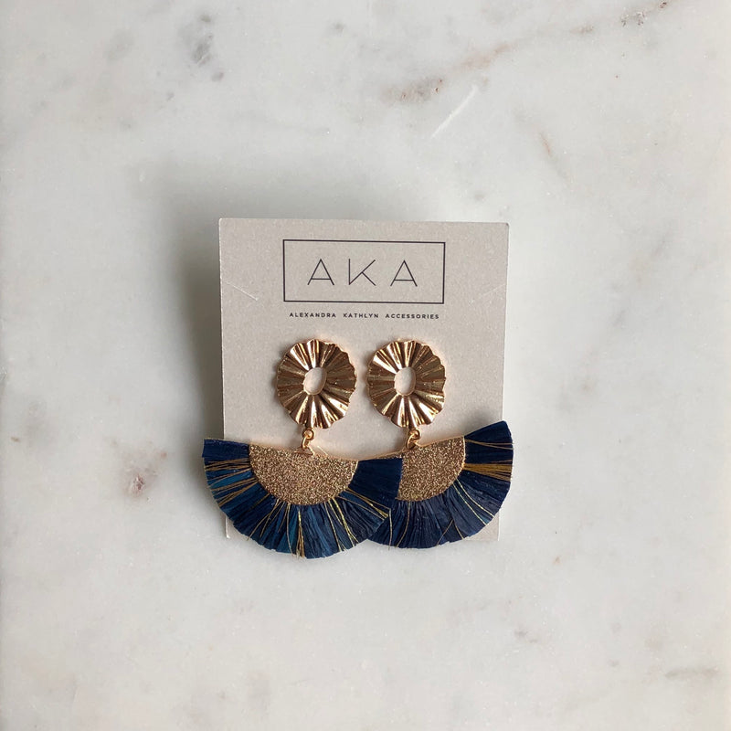 RAFFIA Statement Earrings - Royal Blue-Earrings-Alexandra Kathlyn Accessories