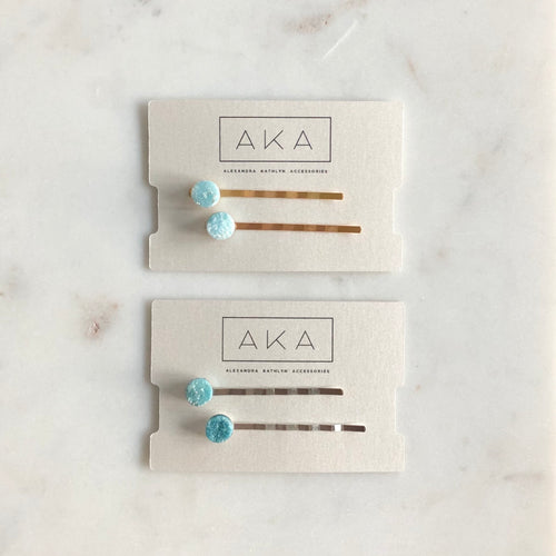 Druzy Bobby Pins - Aqua - Alexandra Kathlyn Accessories