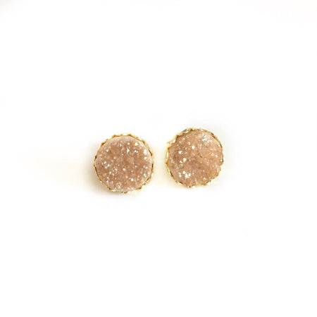 Small Druzy Studs - Midnight Blue