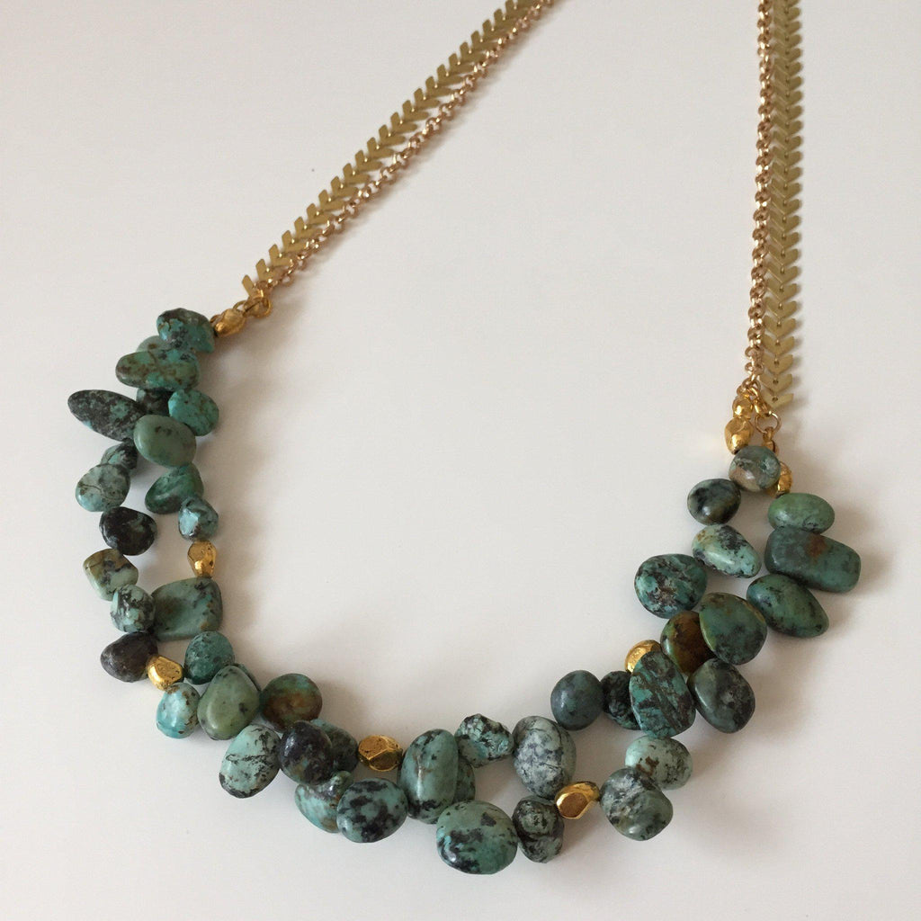 African Turquoise Statement Necklace - Alexandra Kathlyn Accessories - 2