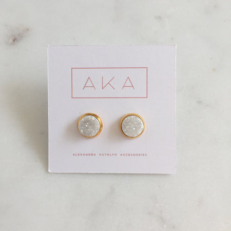 Rose Quartz Stud Earrings - Small