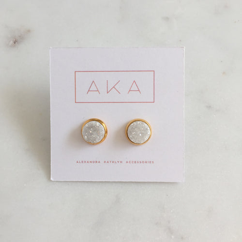 Small Druzy Studs - White - Alexandra Kathlyn Accessories