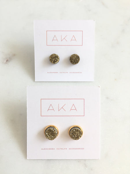 Small Druzy Studs - Gold