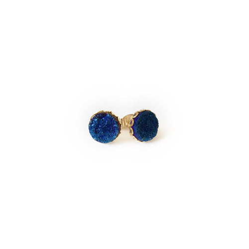 Druzy Lace Earrings - Midnight Blue