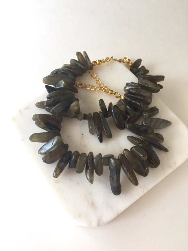 Labradorite Chip Bracelet - Green/Grey