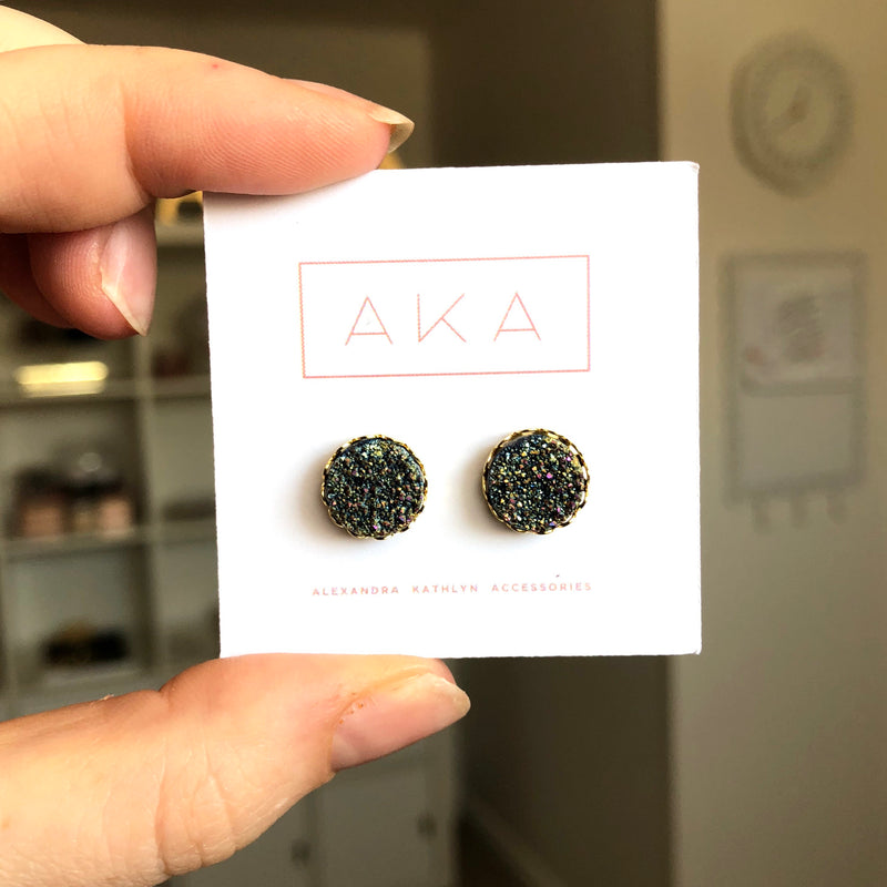 Druzy Lace Earrings - Rainbow - Alexandra Kathlyn Accessories