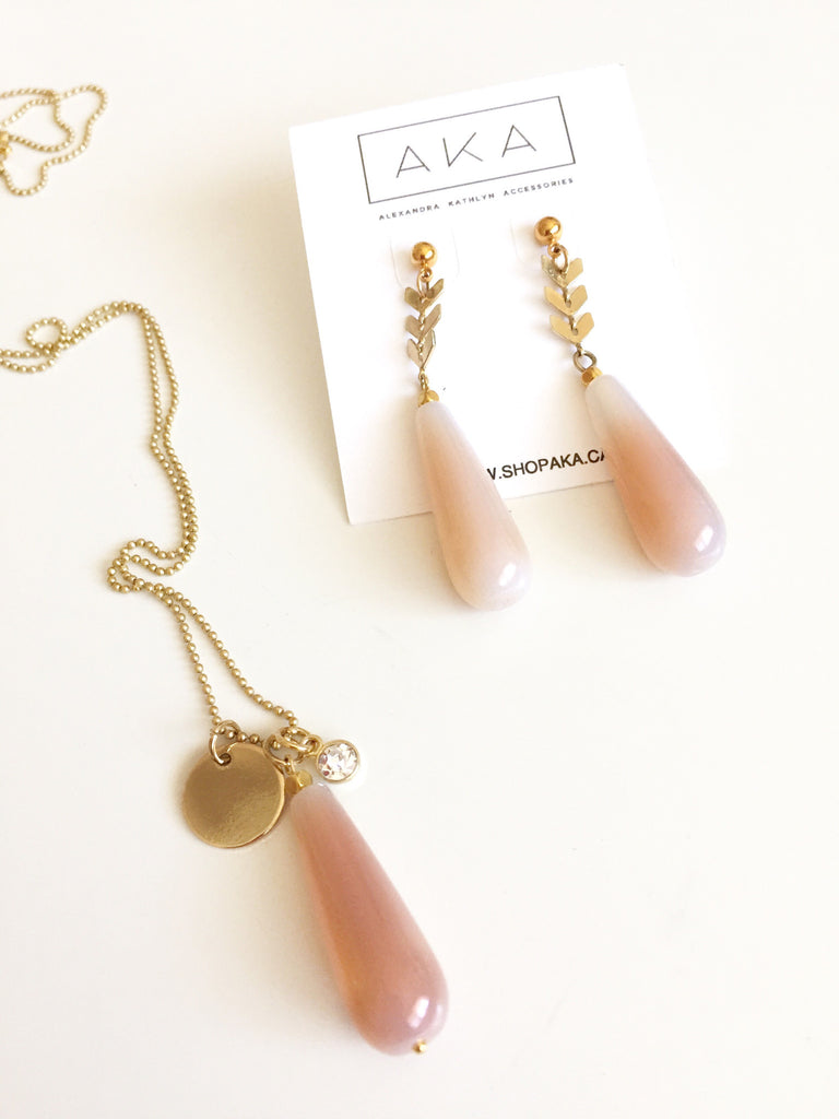 Peach Agate Chevron Drop Earrings