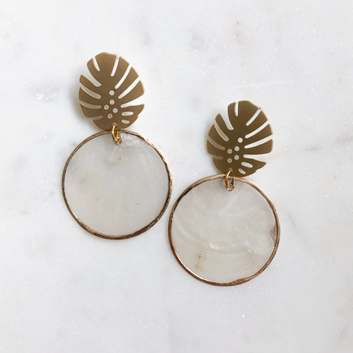 Monstera Shell Earrings