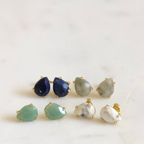 Faceted Gem Drop Studs