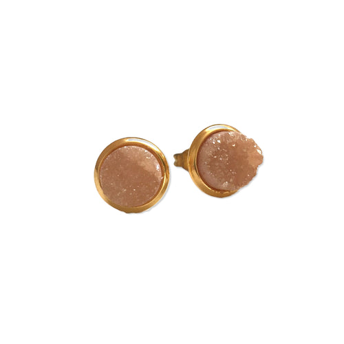 Small Druzy Studs - Champagne - Alexandra Kathlyn Accessories