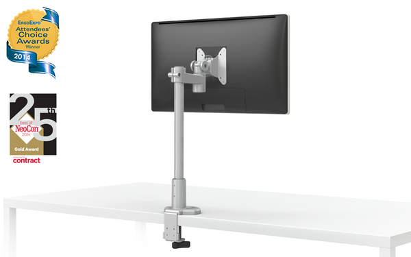 EVOLVE-Series  Single Monitor arm w/1 Short Arm, SILVER Finish