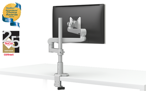 EVOLVE-Series  Single Monitor arm w/2 Fixed Limbs, SILVER Finish