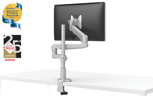 EVOLVE-Series  Single Monitor arm w/ 1 Motion Limb & 1 Fixed Limb , SILVER Finish
