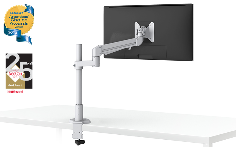 EVOLVE-Series  Single Monitor arm w/ 1 Motion Limb , SILVER Finish