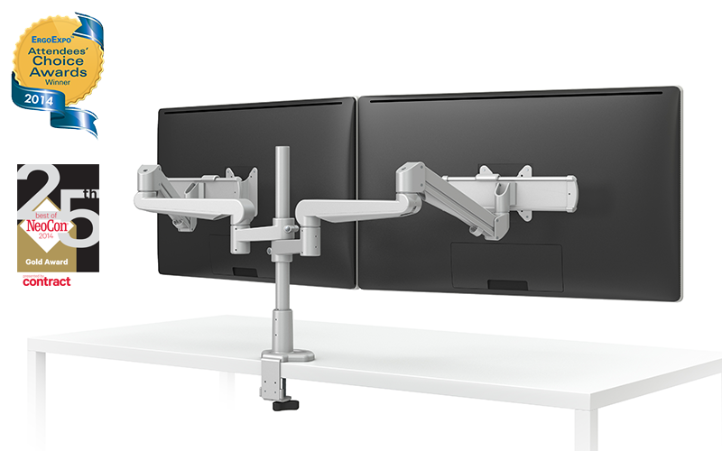 EVOLVE-Series  Dual Monitor arm w/ 2 Motion Limbs, 2 Fixed Limbs & 2 Sliders, SILVER Finish