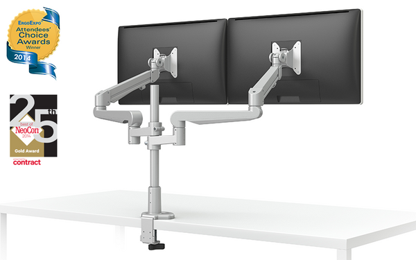 EVOLVE-Series  Dual Monitor arm w/1 Fixed & 1 Motion Limb, SILVER Finish