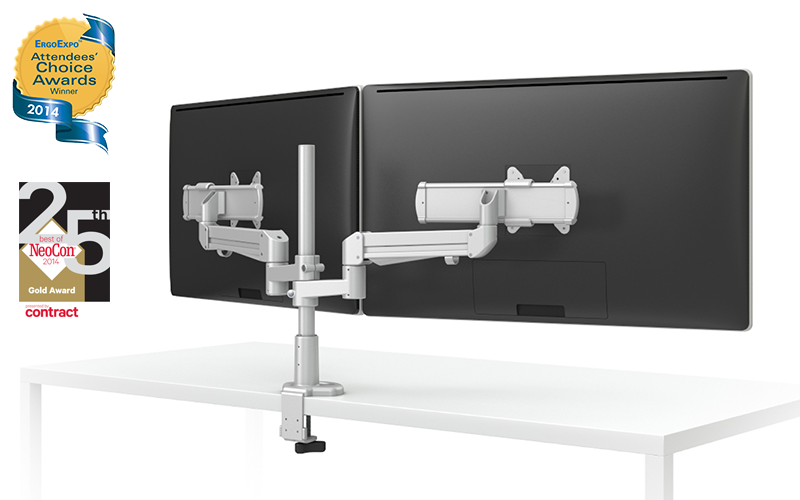 EVOLVE-Series  Dual Monitor arm w/ 2 Motion Limbs & 2 Sliders, SILVER Finish