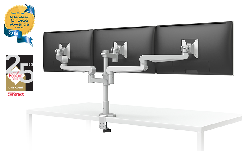 EVOLVE-Series  Triple Monitor arm w/ 3 Fixed Limbs, SILVER Finish
