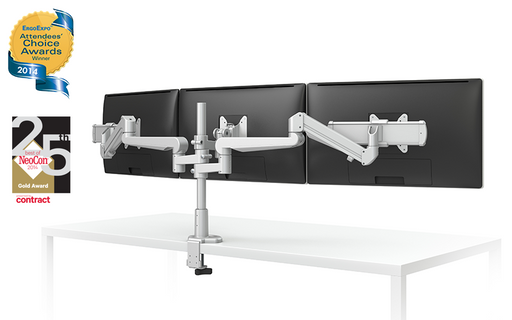 EVOLVE-Series  Triple Monitor arm w/ 2 Motion Limbs, 2 Fixed Limbs, 2 Sliders & 1 Stem Only Limb, SILVER Finish