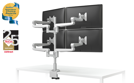EVOLVE-Series  Quad Monitor arm w/4 Fixed Limbs, SILVER Finish