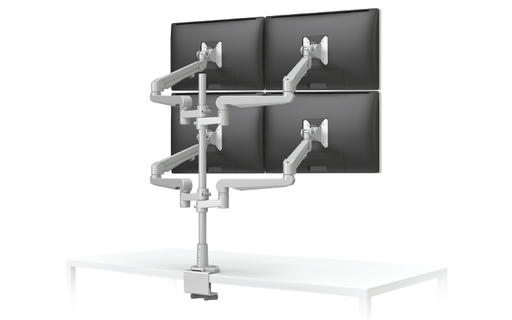EVOLVE-Series  Quad Monitor arm w/ 4 Motion Limbs & 4 Motion Limbs, SILVER Finish