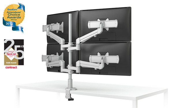 EVOLVE-Series  Quad Monitor arm w/ 4 Motion Limbs & 4 Sliders, SILVER Finish