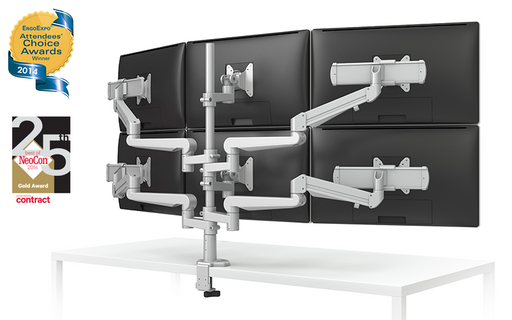 EVOLVE-Series  Six Monitor arm w/ 4 Motion Limbs, 4 Fixed Limbs, 4 Sliders & 2 Stem Only Limbs, SILVER Finish