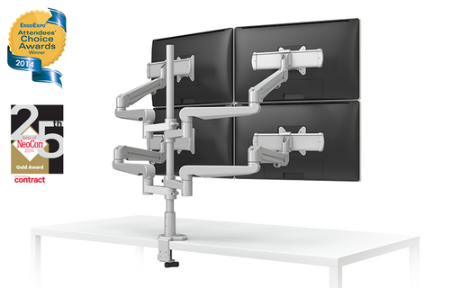 EVOLVE-Series  Quad Monitor arm w/ 4 Motion Limbs, 4 Fixed Limbs & 4 Sliders, SILVER Finish