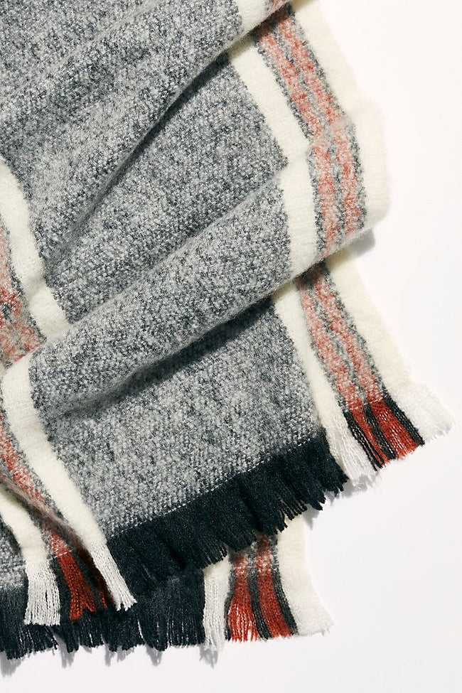 Brushed Racer Stripe Blanket Scarf in Black Combo
