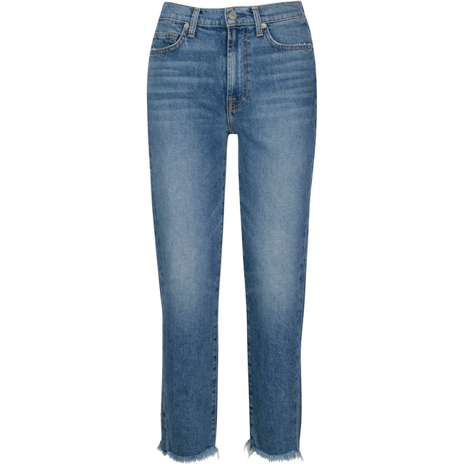 High Waist Cropped Straight in Medium Denim