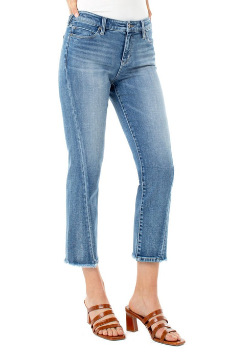 Double Button Straight Leg in Dark Denim