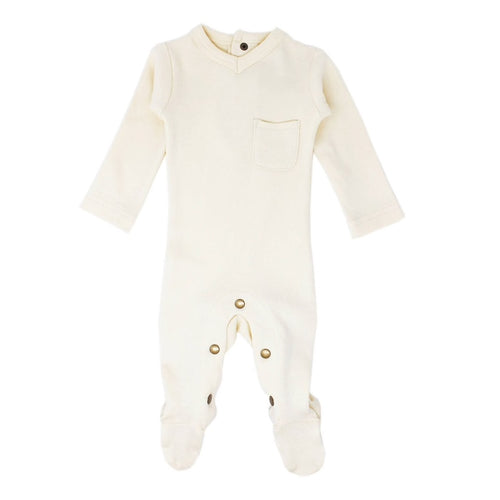 Organic V-Neck Baby Footie in Beige