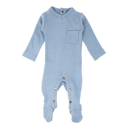 Organic Zipper Baby Footie in Oatmeal Plaid