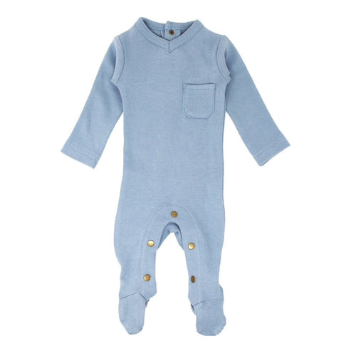 Organic V-Neck Baby Footie in Pool Blue