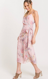 Printed Surplice Wrap Midi Dress